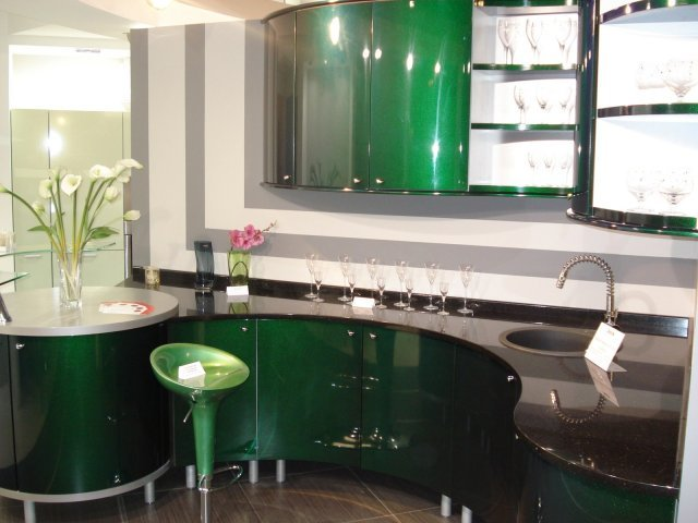 Куххня крашеный мдф салатовая фото